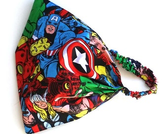 Marvel Headband, Super Hero Wide Hair Wrap, Marvel Elastic Headband, Marvel Hair Wrap, super Hero Headband