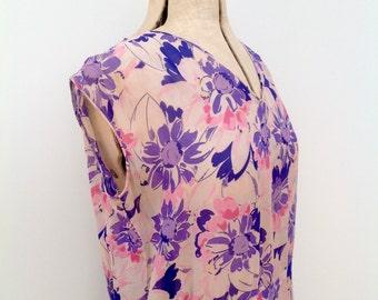 Vintage 1930s bias cut chiffon floral dress antique original flapper Gatsby