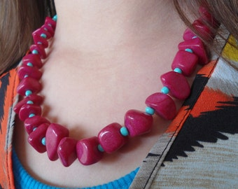 Pink and turquoise chunky necklace