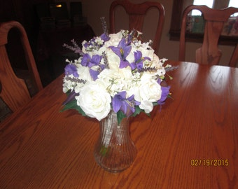 Purple Wedding Bouquet, Bridesmaid Bouquet, Purple Wedding Flowers, Purple Lilies, Spring Bouquet, White Rose Bouquet