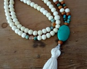 Summer Boho Style Beaded Necklace with Yak Beads from Kathmandu and Tassel