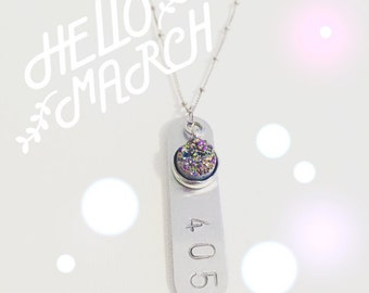 Area Code Druzy Charm Necklace