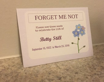 Personalized funeral seed packets to celebrate the life of your loved one!