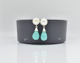 Pearl Earrings, Aqua Chalcedony Earrings, Silver Pearl Earrings, Chalcedony Silver Earrings, Drop Pearl Earrings, Drop Chalcedony Earrings