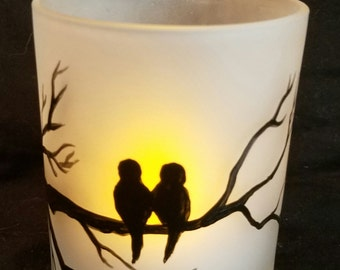Hand painted, frosted candle holder