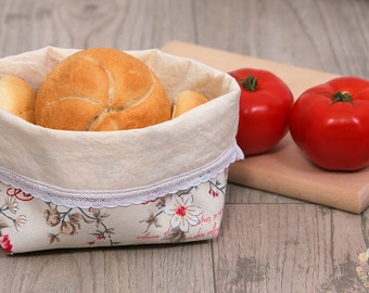 Romantic fabric bread basket, Rustic basket