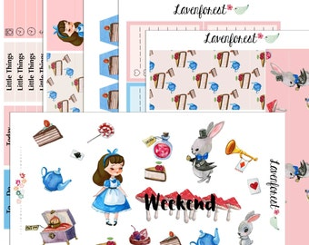 Alice in wonderland planner stickers,  planner sticker kit for use with ERIN CONDREN LIFEPLANNER™ and Happy Planner.