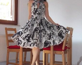 Pinup dress 'Hitchike dress Night Ride', Halloween dress, Skulls, spiders, ravens, Rockabilly dress
