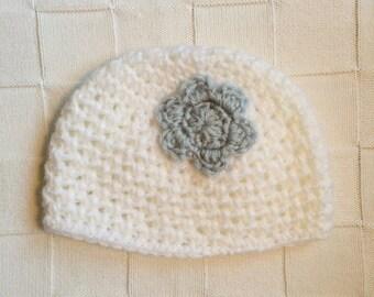 Baby Girl Flower Crochet Hat , Winter Hat, Crochet Flower Beanie, Photo Prop, Blue and White,