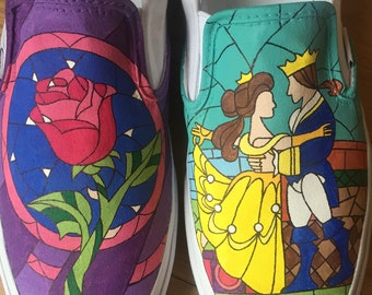 Hand-Painted Beauty and the Beast Shoes