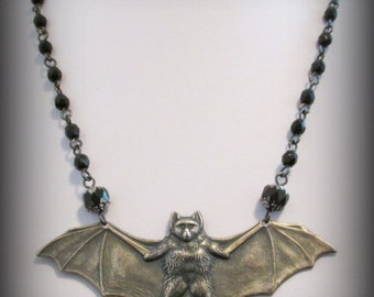LESTAT Antiqued Silver Brass Gothic Vampire Bat Necklace