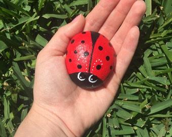 Ladybug Rock/ Hand Painted Ladybug Stone