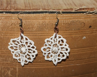 Upcycled Lace Pearl Earrings