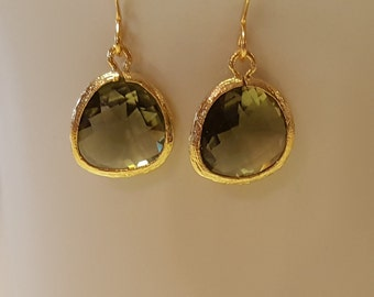 Green crystal earrings, olive green crystal earrings, green and gold earrings, dangle earrings, gold plated, approx. 1 inch long