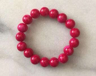 Large Pink Beaded Bracelet