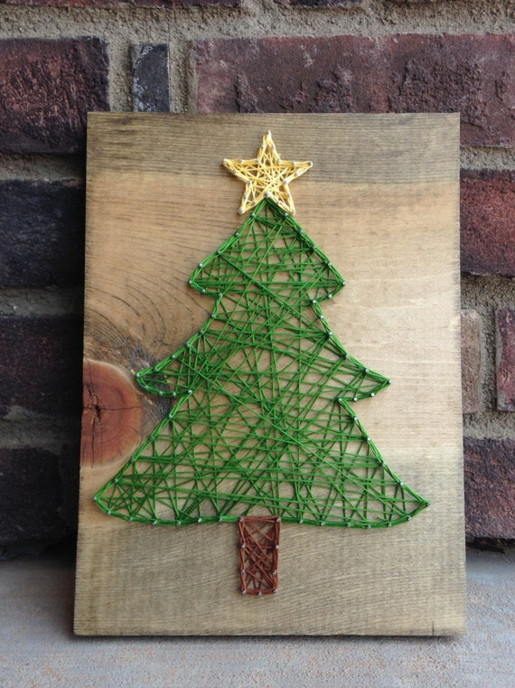 Christmas tree string art gift giving holiday home