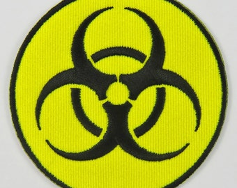 Biohazard Symbol/Sign (Yellow) Iron On/ Sew On Embroidered Cloth Patch Badge Appliqué cybergoth cyber punk goth rocker emo rave Size: 6.8cm