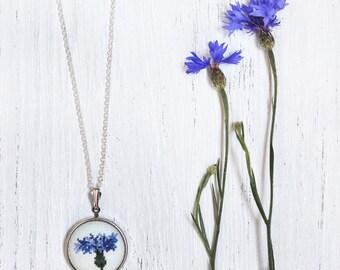 Cornflower Blue Necklace. Blue Statement Necklace. Blue Flower Jewelry. Small Blue Pendant. Textile Statement Jewelry. Embroidered Pendant.