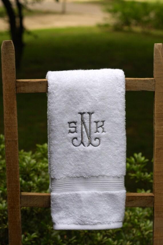 Monogrammed hand towel set wedding gift monogrammed towels for Embroidered towels for wedding gift