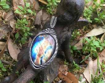 Gorgeous Labradorite Pendant Wrapped in Sterling Silver