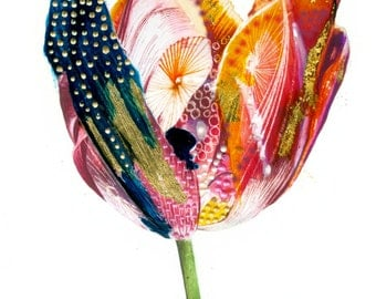 "Tulip/Flower/Art Print/Nature/Nursary Decor/Abstract/Mixed Media A3 (16.53X11.69"")"