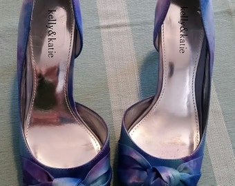 Hand painted satin watercolor dyed peep toe heels - Size 9 - CUSTOM COLORS AVAILABLE