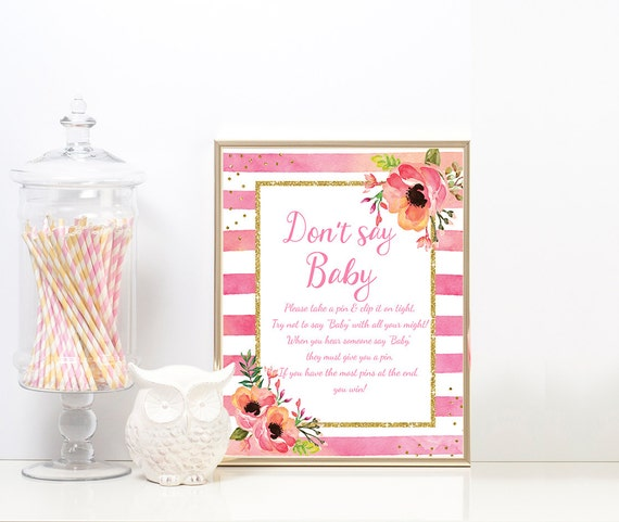 Dont say Baby Pink floral & Gold Glitter Border Printable - Pink 8x10 Dont Say Baby Sign