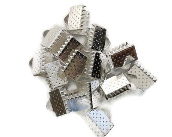 20 clips clasps claw for Ribbon silver 10 or 8mm tips