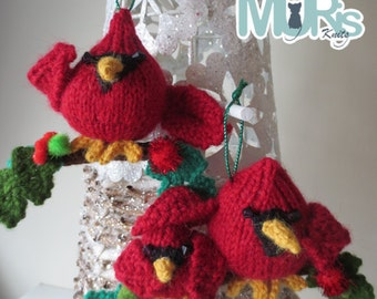 Out on a Twig Hanging Ornament Knitting Pattern - Cardinals & Owls