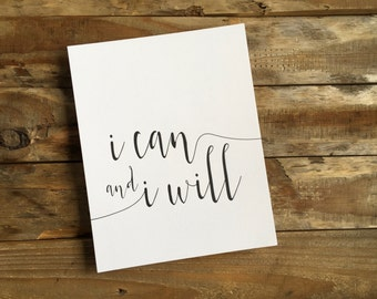 I Can and I Will — Letterpress Print