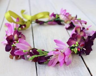 Flower wreath, Flower crown, Floral headpiece, Pink flower wreath, Purple flower wreath