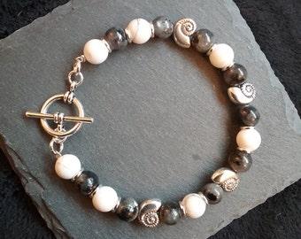 Silver Ammonite or Nautilus Shell Larvikite and Howlite Gemstone Bracelet