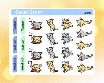 Burnt Out Tired Kitten Planner Stickers (M1602)
