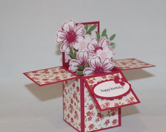 Birthday Card in a Box with Rose Pink Flowers and Desinger Patterned Paper, Tall Style