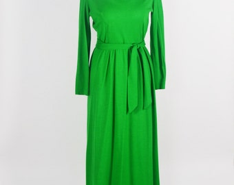"1960's Holiday Green Maxi Dress by Midge Grant/ 26"" Waist"