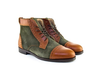 Women Handmade Balmoral Ankle Boots in Brown Leather and Green Suede - Caramel Brown Leather and Olive Green Suede