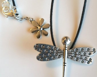 Silver Dragonfly on Black Cord Necklace