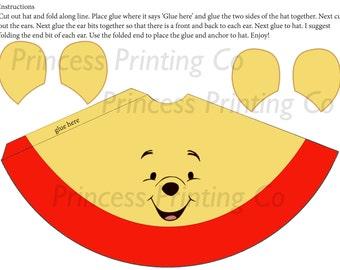 Winnie the Pooh, Tigger, Piglet set Birthday Party Hat DIY Printable