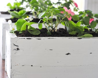 White Distressed Wood Planter Boxes