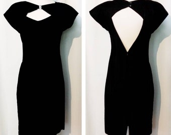 Velvet Little Black Dress with Cutout Neck and Back
