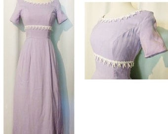 CLEARANCE!  Lilac 60s Maxi Dress with Bow Lace Trim