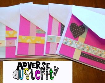 Magenta Sweetheart Cards (set of 5)