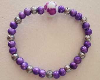 Purple & Silver Stretch Bracelet