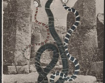 Descendants of Eve , Original art Cut paper collage Surreal art Fantasy art Snake women Serpent Creation myth Original sin Pagan ruins