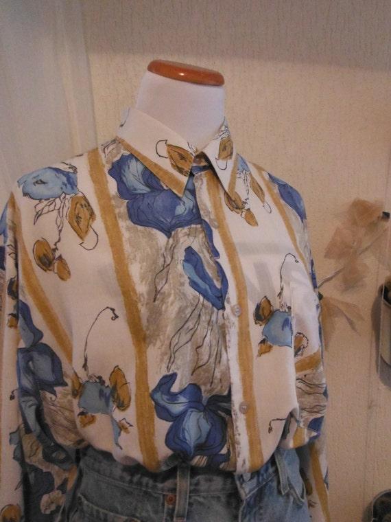 Yellow Blue Floral Shirt - Size Medium 10 12 - Vintage