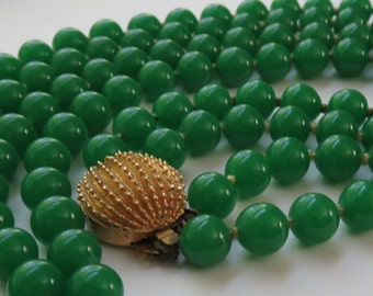 Vintage Green Opaque Glass Bead Double Strand Necklace 1950's Vintage Jewelry Glass Beaded Necklace Costume Jewelry Double Strand Necklace