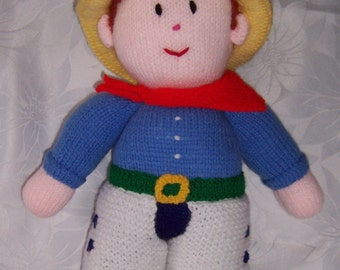 Cowboy Doll Hand Knitted Toy designed by Jean Greenhowe, Handmade doll, Knitted soft toy, stuffed toy
