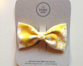 Yellow and white fabric bow hair clip, medium/Fabric Hair Bow Clip Yellow, Medium