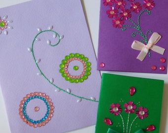 3 Pieces Hand Embroidered Paper Greeting Card Set