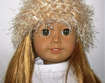 """18"""" Doll Clothes fit American Girl Crocheted Wild & Crazy Fun Fur Hat IVORY"""